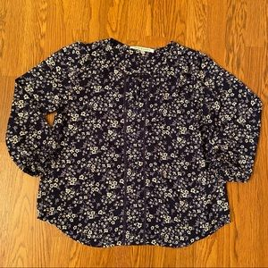Collective Concepts Navy Floral Chiffon Top Size M